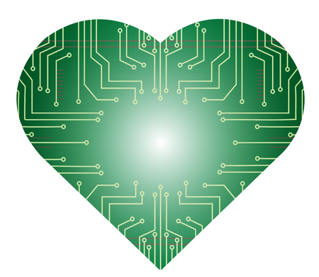 microchip in heart shape vector illustration