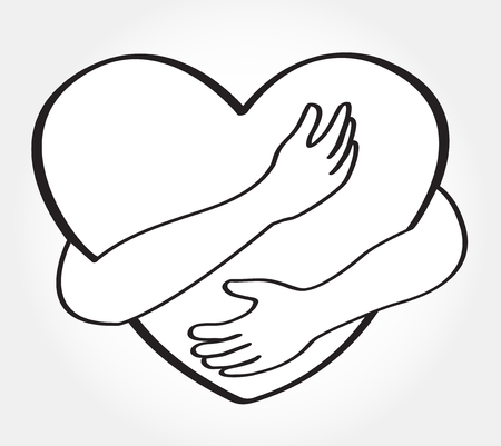 Illustration for Hugging heart vector , hug yourself , love yourself - Royalty Free Image