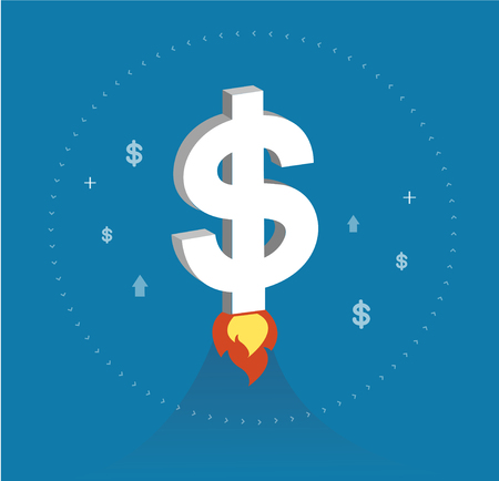 Dollar icon rising as a rocket increase value on international financial markets symbol, business concept