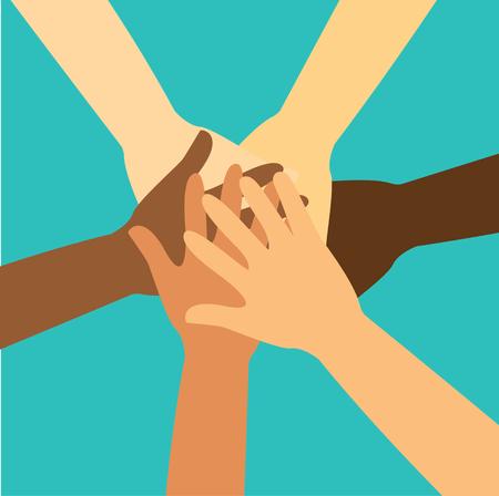 Illustration pour People putting their hands together vector. - image libre de droit