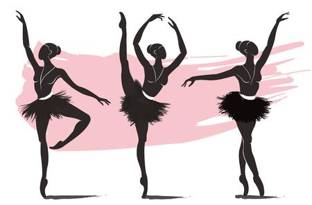 Illustration pour set of woman ballerina, ballet logo icon for ballet school dance studio vector illustration - image libre de droit
