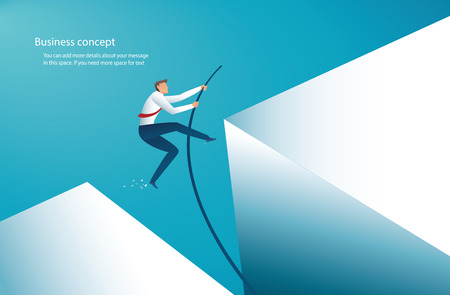 Illustration pour businessman jumping with pole vault to reach the target. vector illustration - image libre de droit