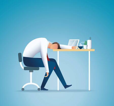 Vektor für Sleeping at work. Tired business man. overworking concept vector illustration EPS10 - Lizenzfreies Bild
