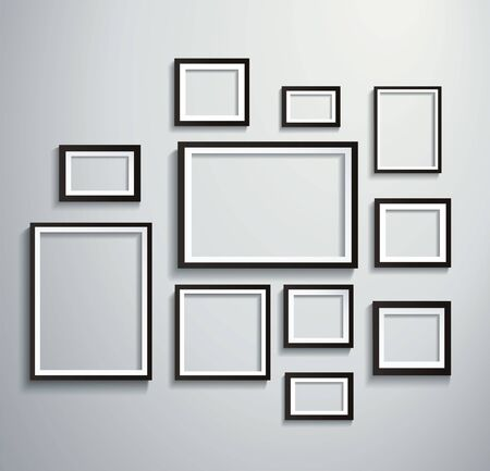 Illustration pour Square isolated picture frame on wall - image libre de droit
