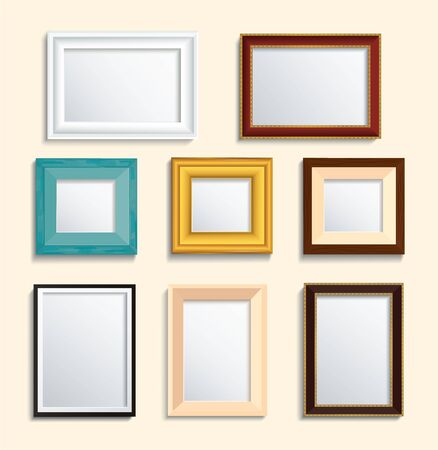 Illustration pour set of isolated picture frame on wall vector illustration - image libre de droit