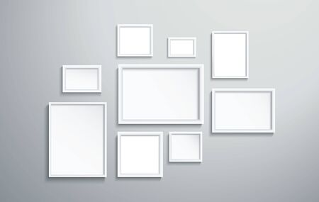 Illustration pour square isolated white picture frame on wall vector illustration - image libre de droit