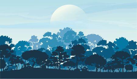 Illustration pour forest trees silhouettes, nature landscape background vector illustration - image libre de droit