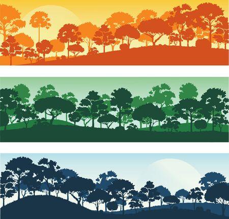Illustration pour forest trees silhouettes , forest landscape template banner background vector illustration EPS10 - image libre de droit