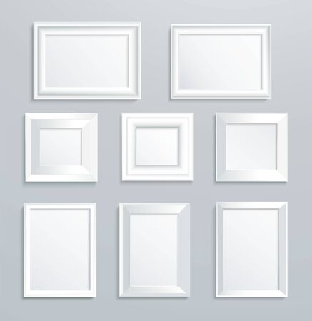 Illustration pour isolated white picture frame on wall vector illustration - image libre de droit