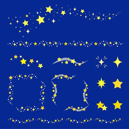 Illustration pour Set of star decoration - image libre de droit