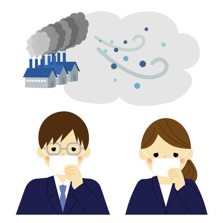 Illustration pour Air Pollution, businessman and businesswoman - image libre de droit