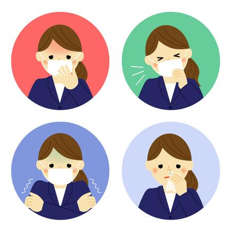 Illustration pour Cold symptoms of business woman - image libre de droit