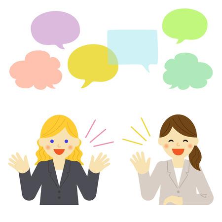 Illustration pour Two businesswomen talking to each other - image libre de droit