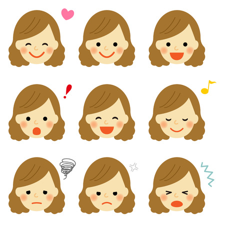 Illustration for Facial expressions of young girl - Royalty Free Image