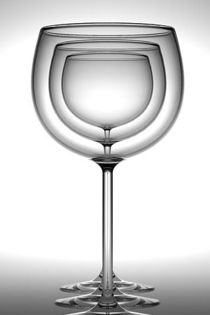 Three wineglasses standing in row over white background  3D render