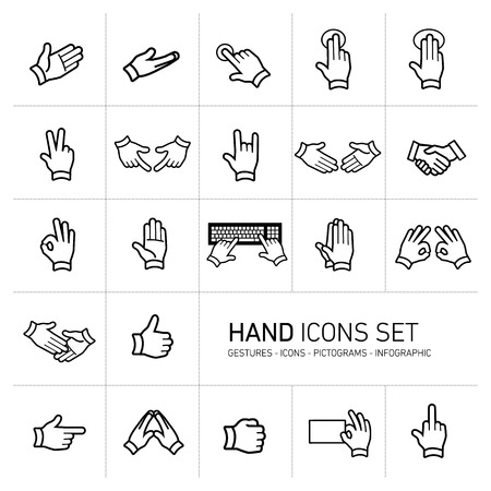 modern flat design vector hand icons and pictograms set black isolated on white background