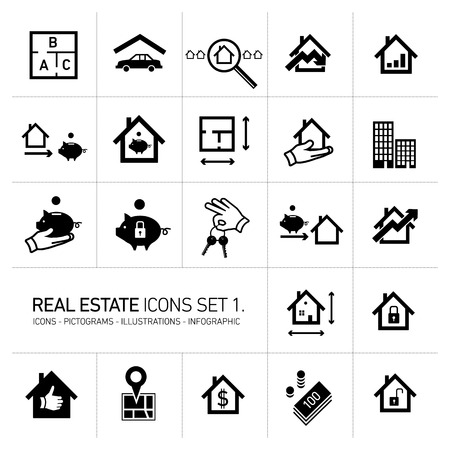 vector real estate icons set modern flat design pictograms black isolated on white background