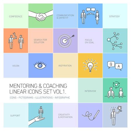vector abstract mentoring and coaching linear icons and pictograms set of skills and solutions black on colorful background