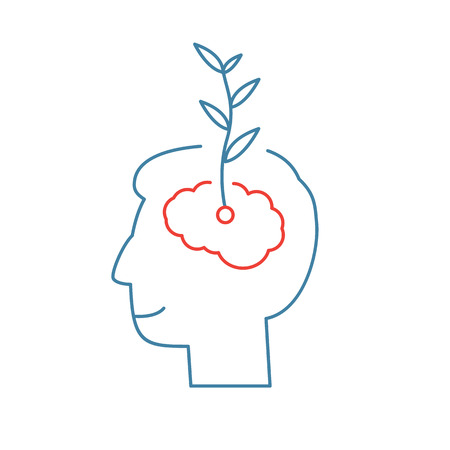 Illustration pour Vector growth mindset skills icon growing plant from the brain  - image libre de droit