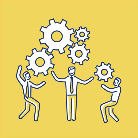 Vector teamwork skills icon of businessmans with gears bulding engine together | modern flat design soft skills linear illustration and infographic on yellow background