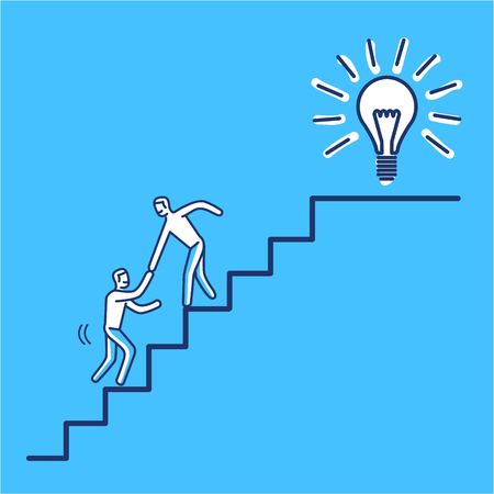 Ilustración de Helping hand to success. Vector business illustration of businessman collaboration on stairs to goal | modern flat design linear concept icon and infographic on blue background - Imagen libre de derechos