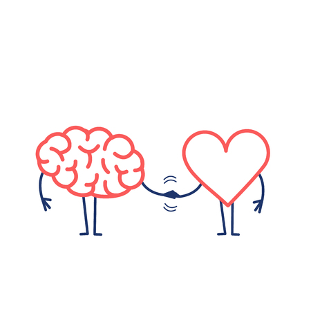 Illustration pour Brain and heart handshake. Vector concept illustration of teamwork between mind and feelings   flat design linear infographic icon red and blue on white background - image libre de droit