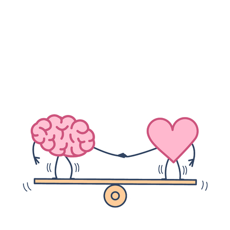Illustration pour Brain and heart balancing on swing. Vector concept illustration of balance between mind and feelings  flat design linear infographic icon colorful on white background - image libre de droit