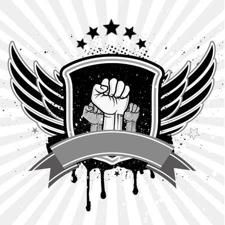 clenched fist and wing with shield