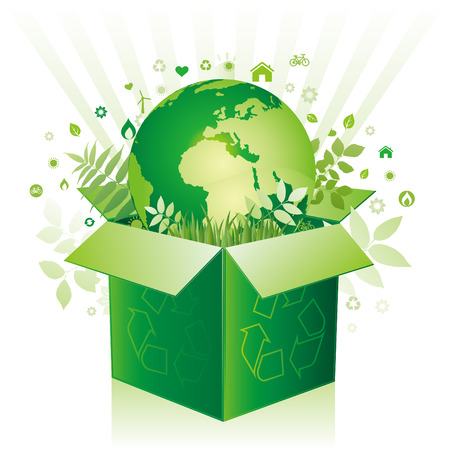 green box and earth environment sign