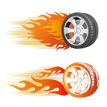 fiery racing tire