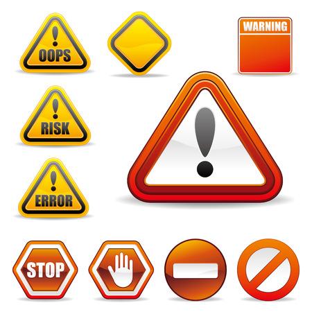 set of warning sign