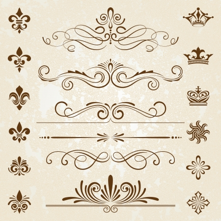 Vintage decoration design elements with page decor