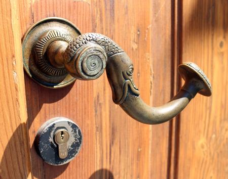 Historical clique of old wooden door