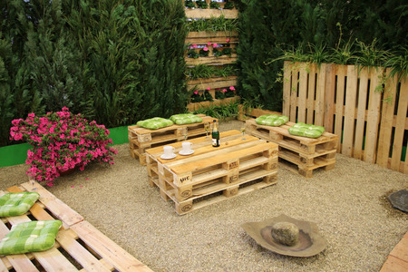 Photo for garden furniture with pallets - Royalty Free Image