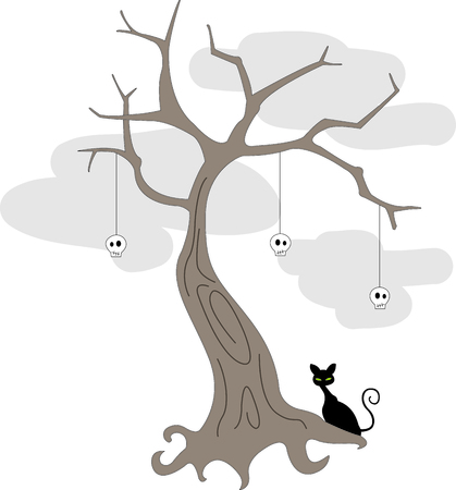 A spooky black kitty watches over this frightful tree decorated with skulls.  Here is a Halloween design that covers all the bases for frightfulness!