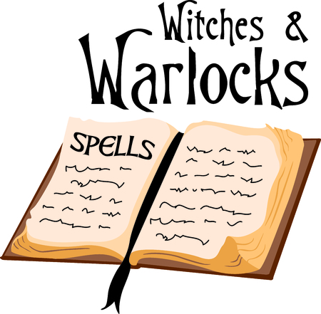 A witches book of spells is the perfect design for a Halloween party.