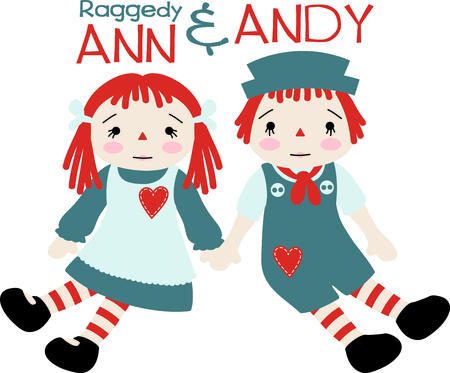 Raggedy Ann and Andy baby dolls with hearts on their pinafore and jumper.