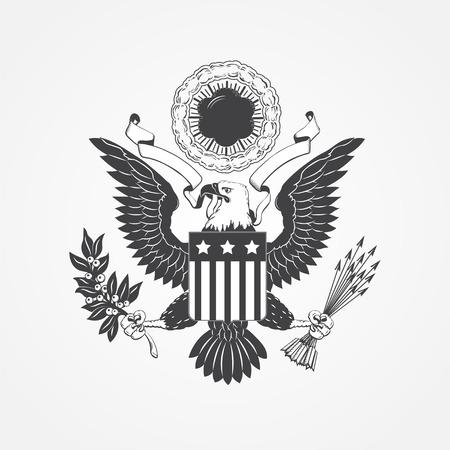 Ilustración de Eagle with shield. Typographic labels, stickers, logos and badges. Flat vector illustration - Imagen libre de derechos