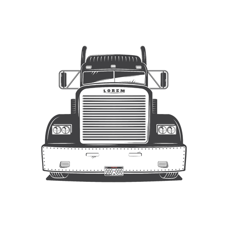 Illustration for American Cargo Truck Isolated on White. Freight Solutions. Trucking Logo Detailed. - Royalty Free Image