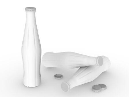 Photo for template empty bottle mockup white background , 3d rendering - Royalty Free Image