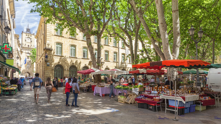 Market on a square in Aix en Provence France