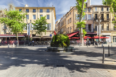 Mossy fountain on the Cours Mirabeau in Aix en Provence France