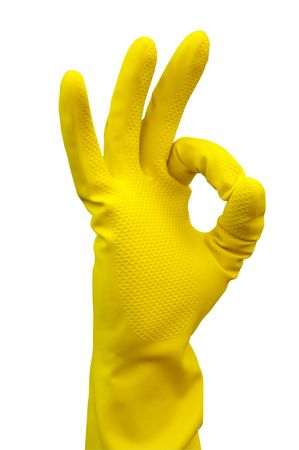 Photo pour Latex Glove For Cleaning Making an OK hand sign  - image libre de droit