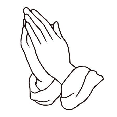 Illustration pour Praying hands pen drawing vector illustration - image libre de droit