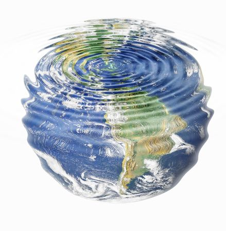 water ripples and earth image (American Continent) combined, environmental, global warming concept