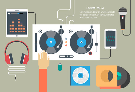 Vector turntable and dj hand - music concept in flat style