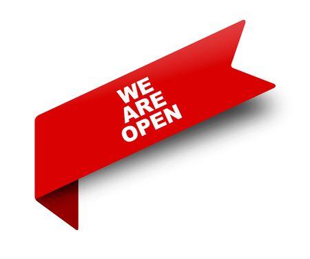 Illustration pour red vector banner ribbon we are open - image libre de droit