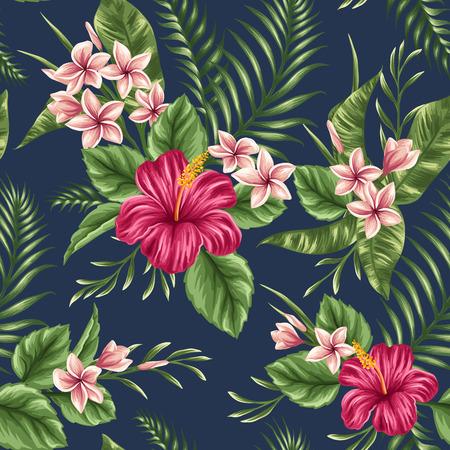 Pink Hibiscus - Navy