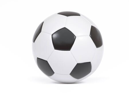 Foto de Traditional black and white soccer ball or football on a white background with small drop shadow and copy space - Imagen libre de derechos