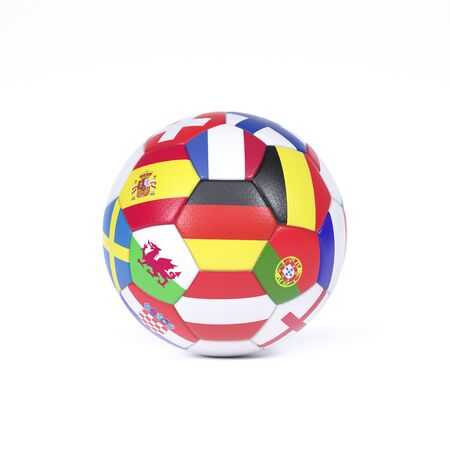 Foto de Colorful football or soccer ball on white decorated with the national flags of the countries competing in the championships - Imagen libre de derechos